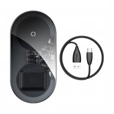 BASEUS SIMPLE 2IN1 WIRELESS CHARGER QI CHARGER FOR SMARTPHONES AND AIRPODS 18W TRANSPARENT-BLACK (WXJK-A01)