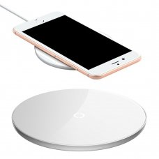 BASEUS SIMPLE STYLISH WIRELESS CHARGER QI INDUCTIVE PAD 2A 1.67A 10W WITH USB / LIGHTNING CABLE 1.2M WHITE (CCALL-JK02)