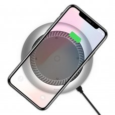 BASEUS WHIRLWIND WIRELESS CHARGER DESKTOP QI CHARGER WITH BUILT-IN FAN (CCALL-XU0S) SILVER