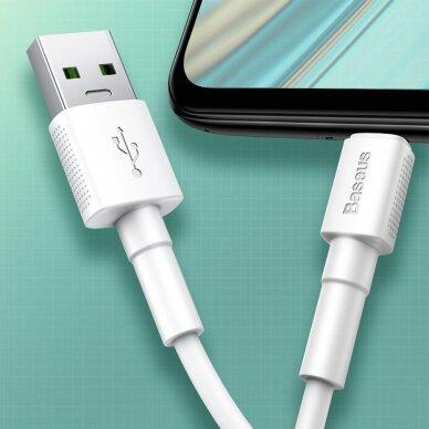 Baseus Mini White Kabelis USB skirtas Micro 4A 1m Baltas 11