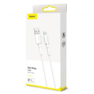 Baseus Mini White Kabelis USB skirtas Micro 4A 1m Baltas 5