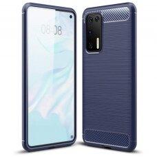 Dėklas Carbon Case Flexible Huawei P40 Mėlynas