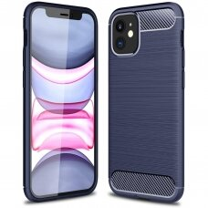 Carbon Case Flexible Cover TPU dėklas iPhone 12 Mini mėlynas