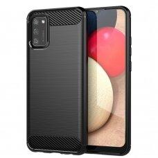 Dėklas Carbon Case Flexible Cover TPU  Samsung Galaxy A02s Juodas