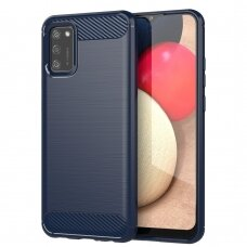 Dėklas Carbon Case Flexible Cover TPU Samsung Galaxy A02s Tamsiai mėlynas