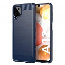 Dėklas Carbon Case Flexible Samsung Galaxy A12 Tamsiai mėlynas