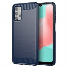 Dėklas Carbon Case Flexible Cover TPU Case for Samsung Galaxy A32 4G tamsiai mėlynas