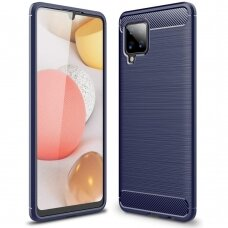 Dėklas Carbon Case TPU Case Samsung Galaxy A42 5G Tamsiai mėlynas