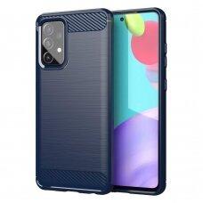 Dėklas Carbon Case Flexible Cover TPU  Samsung Galaxy A52 5G / A52 4G Tamsiai mėlynas
