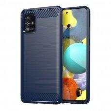 Dėklas Carbon Case Flexible Cover skirta Samsung Galaxy M31S Mėlynas