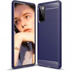 Dėklas Carbon Case Flexible Cover TPU Case for Samsung Galaxy S20 FE 5G Tamsiai mėlynas