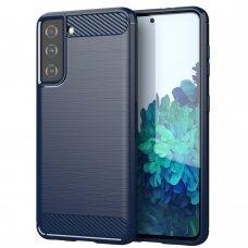 Carbon Case dėklas TPU Samsung Galaxy S21 5G mėlynas