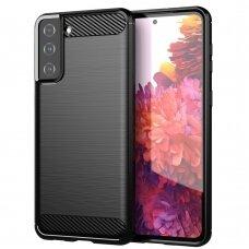 Dėklas Carbon Case Flexible Cover TPU Samsung Galaxy S21+ 5G (S21 Plus 5G) juodas