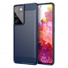 Dėklas Carbon Case Flexible Cover TPU Samsung Galaxy S21 Ultra 5G Tamsiai mėlynas