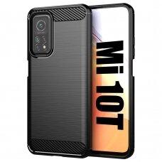 Dėklas Carbon Case Flexible Cover TPU Xiaomi Mi 10T Pro / Mi 10T Juodas