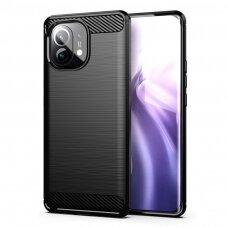 Dėklas Carbon Case Flexible Cover TPU  Xiaomi Mi 11 Juodas
