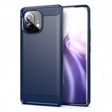 Dėklas Carbon Case Flexible Cover TPU Xiaomi Mi 11 Mėlynas