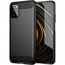 Dėklas Carbon Case Flexible Cover TPU Xiaomi Poco M3 Juodas