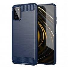Dėklas Carbon Case Flexible TPU Xiaomi Poco M3 / Xiaomi Redmi 9T Tamsiai mėlynas