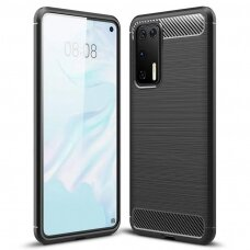 Dėklas Carbon Case Flexible Huawei P40 Pro juodas