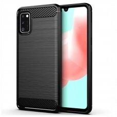 Dėklas Carbon Case Flexible Samsung Galaxy A41 juodas