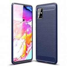 Dėklas Carbon Case Flexible Samsung Galaxy A71 tamsiai mėlynas