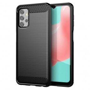 Dėklas Carbon Case Flexible Cover TPU Samsung Galaxy A32 4G Juodas