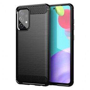 Dėklas Carbon Case Flexible Cover TPU Case for Samsung Galaxy A52 5G / A52 4G Juodas