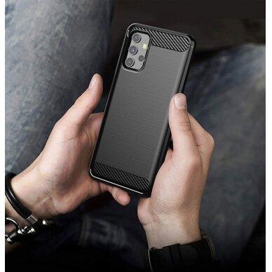 Dėklas Carbon Case Flexible Cover TPU Samsung Galaxy A32 4G Juodas 3
