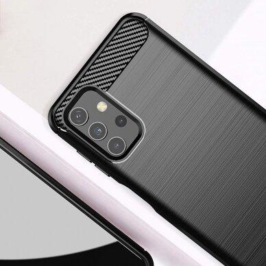 Dėklas Carbon Case Flexible Cover TPU Samsung Galaxy A32 4G Juodas 5