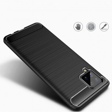 Dėklas Carbon Case TPU Case Samsung Galaxy A42 5G Tamsiai mėlynas 6