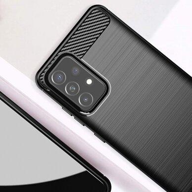 Dėklas Carbon Case Flexible Cover TPU Case for Samsung Galaxy A52 5G / A52 4G Juodas 3
