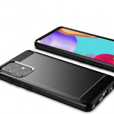Dėklas Carbon Case Flexible Cover TPU Case for Samsung Galaxy A52 5G / A52 4G Juodas 4