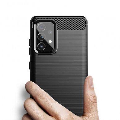 Dėklas Carbon Case Flexible Cover TPU Case for Samsung Galaxy A52 5G / A52 4G Juodas 6
