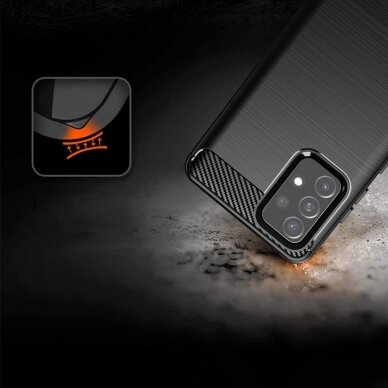 Dėklas Carbon Case Flexible Cover TPU Samsung Galaxy A72 4G Juodas 2