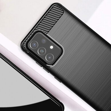 Dėklas Carbon Case Flexible Cover TPU Samsung Galaxy A72 4G Juodas 3