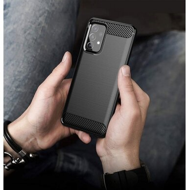 Dėklas Carbon Case Flexible Cover TPU Samsung Galaxy A72 4G Juodas 5