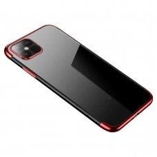 Skaidrus Dėklas Su Spalvotu Rėmeliu 'Tpu Electroplating' Iphone 12 / 12 Pro Raudonas