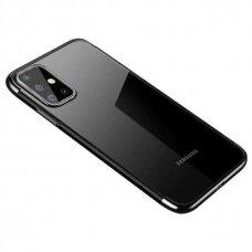 Dėklas Clear Color Case Gel TPU Electroplating su spalvotu kraštu Samsung Galaxy A32 4G Juodas