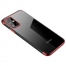 Dėklas Clear Color Case Gel TPU Electroplating su spalvotu kraštu Samsung Galaxy A32 4G Raudonas