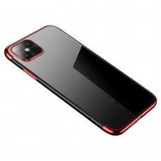 Skaidrus dėklas Clear Color Case Gel TPU Electroplating Samsung Galaxy A52/ A52s Raudonas