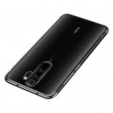 Skaidrus dėklas su spalvotu rėmeliu TPU Electroplating Xiaomi Redmi 9 juodas