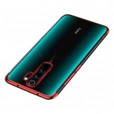 Skaidrus dėklas su spalvotu rėmeliu TPU Electroplating Xiaomi Redmi 9 raudonas
