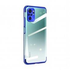 Dėklas Clear Color Case Gel TPU Electroplating Xiaomi Redmi Note 10 Pro Mėlynais kraštais