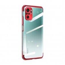 Dėklas Clear Color Case Gel TPU Electroplating Xiaomi Redmi Note 10 Pro Raudonas