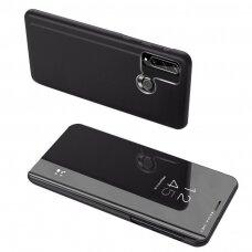 Juodas 'Clear View'  Veidrodiniu-Permatomu Priekiniu Dangteliu Atverčiamas Dėklas   Huawei Y6P
