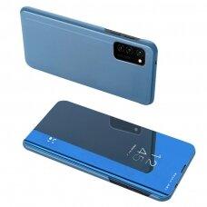 Atverčiamas dėklas Clear View Case Samsung Galaxy A02s Tamsiai mėlynas