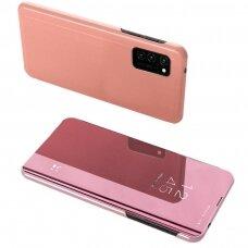 Atverčiamas dėklas Clear View Case cover for Samsung Galaxy A52 5G Rožinis