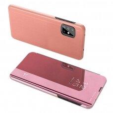 Atverčiamas dėklas Clear View Case Cover skirta Samsung Galaxy M31S Rožinis