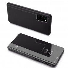 Atverčiamas Dėklas Permatomu-Veidrodiniu Dangteliu 'Clear View'  Samsung Galaxy Note 20 Juodas